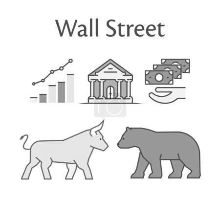 Modern concept of Wall Street.