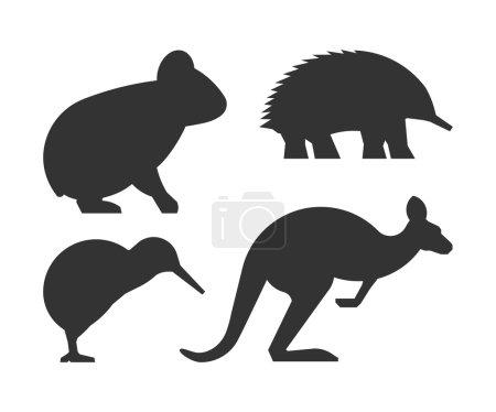 Vector set of silhouettes australian animals.