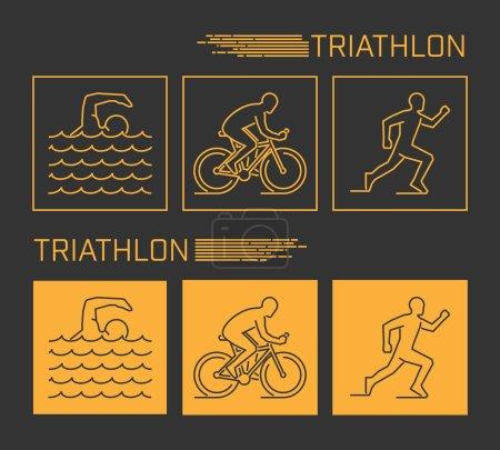 Modern line triathlon symbol
