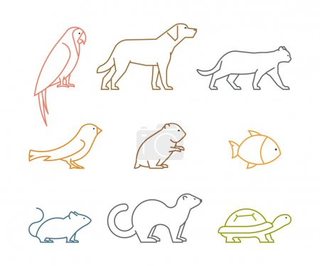 Colored line group of pets. Silhouettes animals