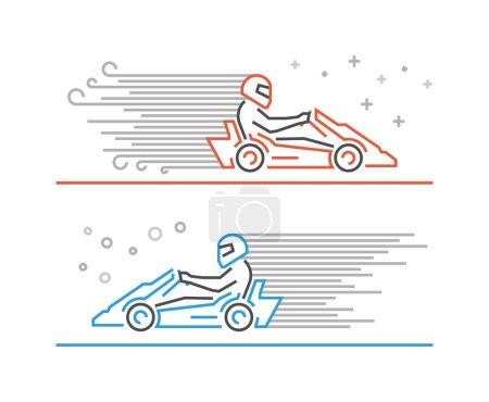 Multicolored line go kart logo