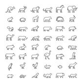 Line set of silhouettes of australian african american and other animals Vector icon monkey beaver pig kiwi lemur cow chicken and others Open path