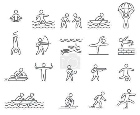 Outline figure athletes. Icons popular sports. Linear vector set