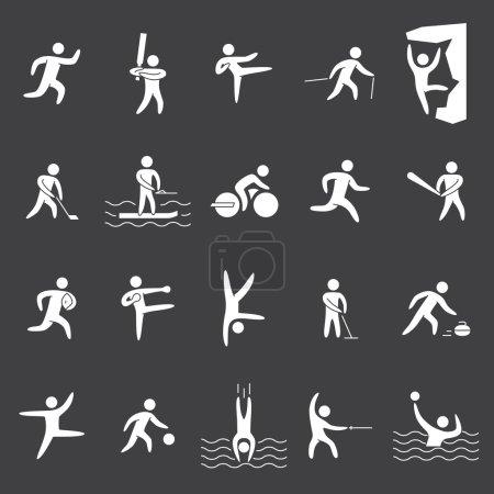 White silhouette figures of athletes