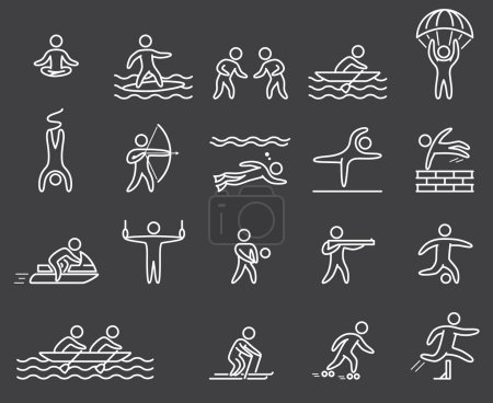Lineart figure athletes. Icons popular sports. Outline vector se