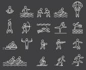 Lineart figure athletes Icons popular sports Outline vector set Yoga surfing skydiving rope jumping archery volleyball shooting diving parkour jetski and other