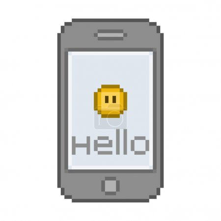 Pixel smartphone, funny hello message with a smile