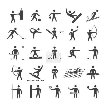 Illustration pour Figures de silhouettes des sports populaires d'athlètes. Forme noire icon set vector - image libre de droit