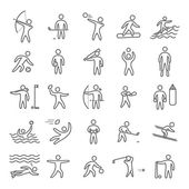 Outline figures of athletes popular sports