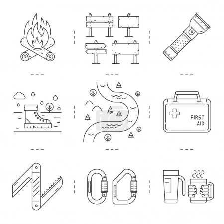Line icons set of hiking, camping and tourism