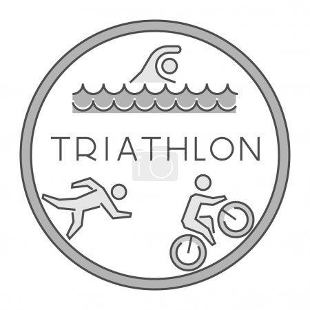 Line and flat triathlon logo and symbol. Vector sport label and