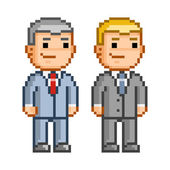 Vector pixel art smiling people Business people and office employees
