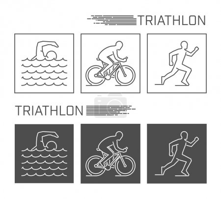 Modern line logo triathlon. Vector black and white figure triath