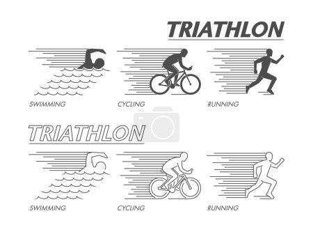 Modern line logo triathlon. Flat black logo triathlon.