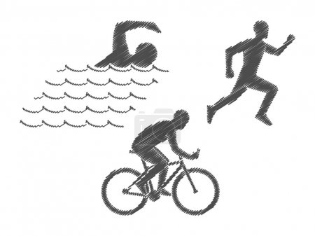 Vector pencil logo triathlon. Black figures triathletes on a whi