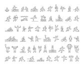 Set of linear shapes popular sports athletes Vector icons