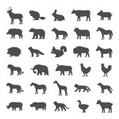 Set of domestic and wild animals Black silhouettes of animals on a white background Dog cat cow pig bear elephant and other animals