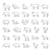 Set of domestic and wild animals Line silhouettes of animals on a white background Dog cat cow pig bear elephant and other animals