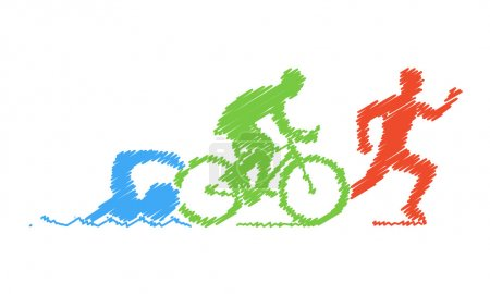 Illustration for Colored pencil drawing of the logo triathlon. Figures triathletes on a white background. Swimming, cycling and running symbol. - Royalty Free Image