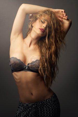 Glorious caucasian sexy woman in studio bright mak...
