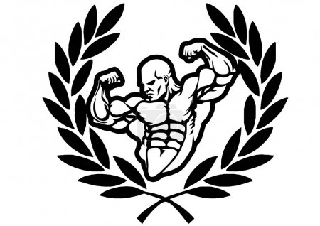 Photo for Victory bodybuilder,illustration,black and white,art,outline,isolated on a white - Royalty Free Image