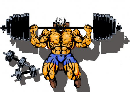 Photo for Bodybuilder workout with weight,top view, illustration,color,drawing,isolated on a white - Royalty Free Image