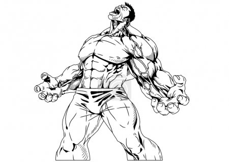 Photo for Bodybuilder muscular torso,illustration,black and white,art,outline,isolated on a white - Royalty Free Image
