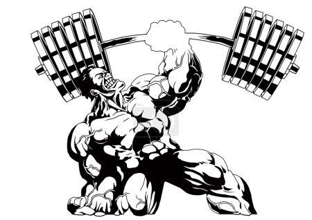 Photo pour Bodybuilder presse à une main poids lourd, illustration, encre, noir et blanc, logo, contour, isolé sur un blanc - image libre de droit