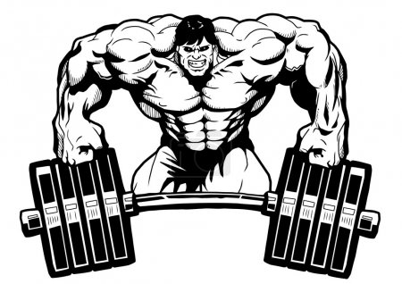 Photo for Bodybuilder gym logo,illustration,black and white,art,outline,isolated on a white - Royalty Free Image