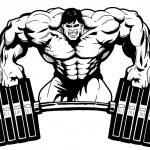 Bodybuilder gym logo,illustration,black and white,...