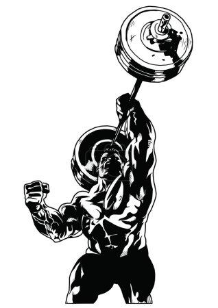 Photo pour Carrossier avec poids lourds, illustration, noir et blanc, art, contour, isolé sur un blanc - image libre de droit