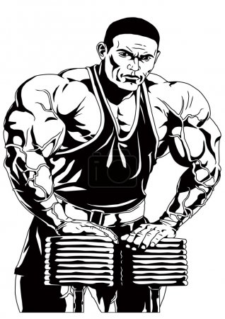 Photo for Bodybuilder workout hard,illustration,black and white,art,outline,isolated on a white - Royalty Free Image