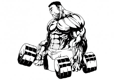 Photo for Bodybuilder hard traning,illustration,ink,black and white,logo,outline,isolated on a white - Royalty Free Image