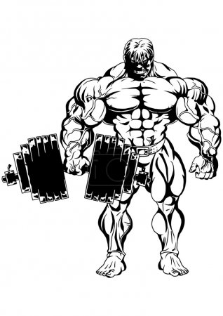 Photo for Bodybuilder front view,illustration,ink,black and white,logo,outline,isolated on a white - Royalty Free Image