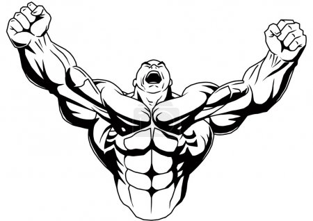 Photo for Muscular body,illustration,ink,black and white,logo,outline,isolated on a white - Royalty Free Image