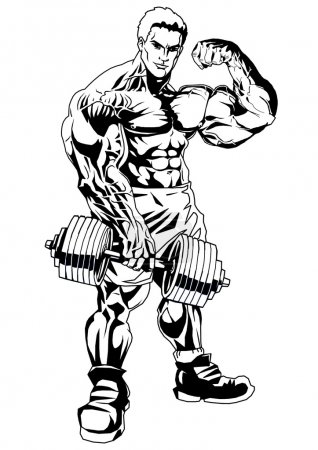 Photo for Bodybuilder big biceps,illustration,ink,black and white,logo,outline,isolated on a white - Royalty Free Image