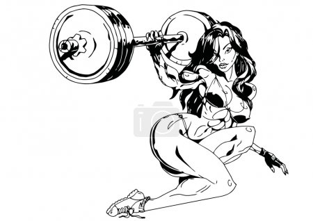 Photo for Fitness girl workout,illustration,ink,black and white,logo,outline,isolated on a white - Royalty Free Image
