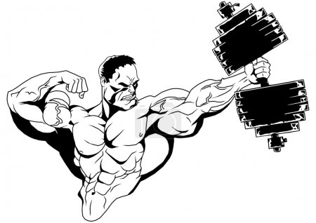 Photo for Muscular bodybuilder with dumbbell,illustration,ink,black and white,logo,outline,isolated on a white - Royalty Free Image