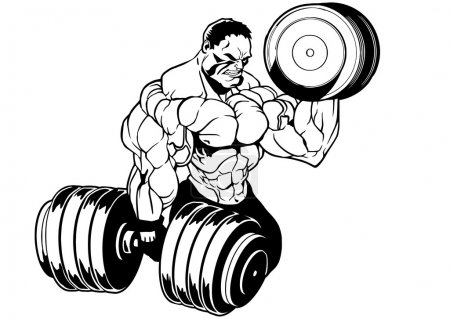 Photo for Muscular bodybuilder workout,illustration,ink,black and white,logo,outline,isolated on a white - Royalty Free Image