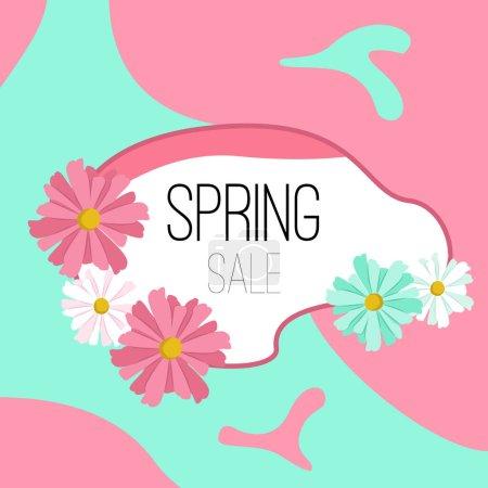 Illustration pour Vente de printemps, bannière, carte postale avec de belles fleurs. Illustration vectorielle. - image libre de droit