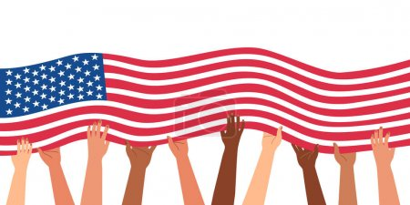 Illustration for Diverse hands are holding the flag of the united states of america. 4th of july independence day. November 9 Patriot Day. Horizontal banner template. Isolated on white vector illustration. - Royalty Free Image
