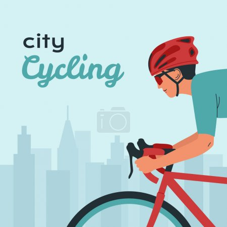 Illustration for Young man rides bicycle in sportswear and helmet. Concept cyclist on the city road. Environmentally friendly transport. Outdoor activities, cardio exercise, healthy lifestyle. Flat vector illustration - Royalty Free Image