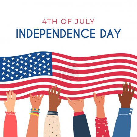 Illustration for Diverse hands are holding the flag of the united states of america. 4th of july independence day concept. Square banner template. Isolated on white vector illustration. - Royalty Free Image