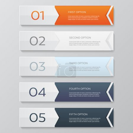 Illustration for Infographics design template. Business concept with 5 options. Vector illustration. - Royalty Free Image