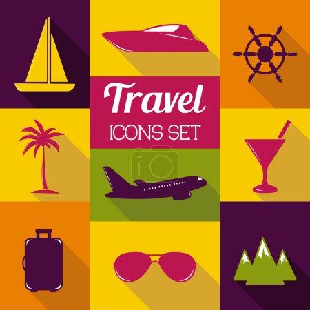 Travel flat icons set.