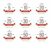 Vector set of anniversary signs symbols Five ten twenty thirty forty fifty years jubilee design elements collection