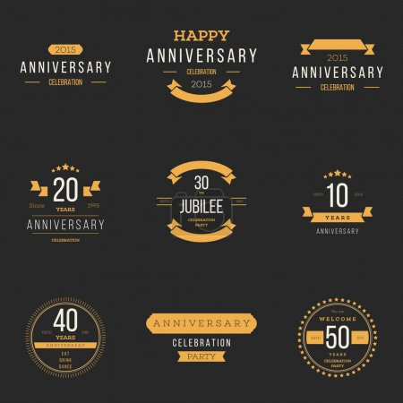 Illustration for Vector set of anniversary signs, symbols. Ten, twenty, thirty, forty, fifty years jubilee design elements collection. Anniversary banners. - Royalty Free Image