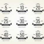 Vector set of anniversary signs, symbols. Five, te...