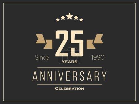 Illustration for Twenty five years anniversary celebration logotype. 25th anniversary logo. Vector Illustration. - Royalty Free Image