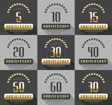 Vector set of anniversary signs, symbols. Five, ten, fifteen, twenty, thirty, forty, fifty, sixty, seventy years jubilee design elements collection.